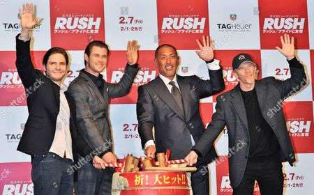 Stock Picture of Chris Hemsworth, Daniel Bruhl, Ron Howard and Kazuhiro Kiyohara