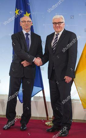 EU Budget Commissioner Janusz Lewandowski meets with German Foreign Minister Frank-Walter Steinmeier