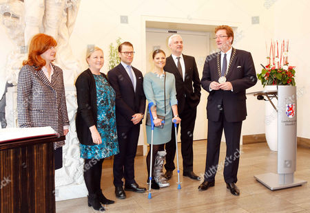Editorial photo of Crown Princess Victoria of Sweden and Prince Daniel at the City Hall, Dusseldorf, Germany - 29 Jan 2014