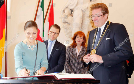 Editorial image of Crown Princess Victoria of Sweden and Prince Daniel at the City Hall, Dusseldorf, Germany - 29 Jan 2014