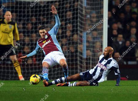 Nicolas Anelka of West Bromwich Albion and Matthew Lowton of Aston Villa