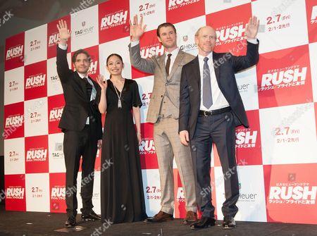 Miki Ando, Chris Hemsworth, Daniel Bruhl, and Ron Howard