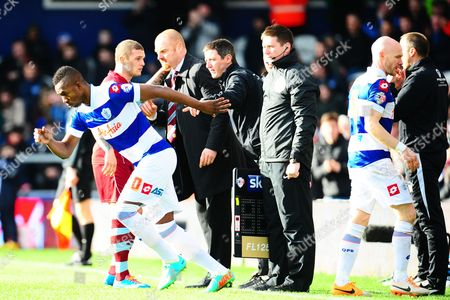 Modibo Maiga of QPR comes on as a substitute to replace Andy Johnson