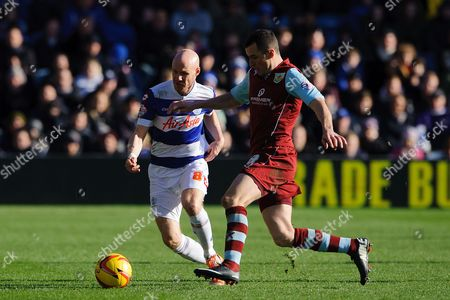 Dean Marney of Burnley and Andy Johnson of QPR