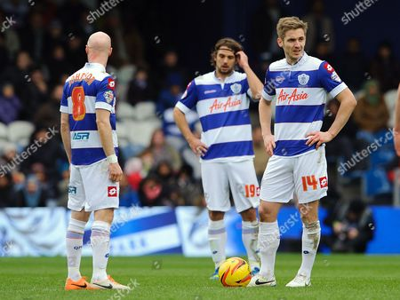 New signing Kevin Doyle of QPR with team mates Andy Johnson and Niko Kranjcar