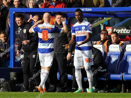 Andy Johnson of QPR is replaced by new signing Modibo Maiga