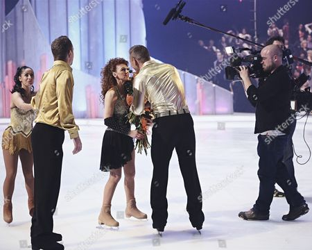 Behind the scenes : Bonnie Langford and skate partner Andrei Lipanov leaves Dancing on Ice and is comforted by Hayley Tamaddon and Dan Whiston