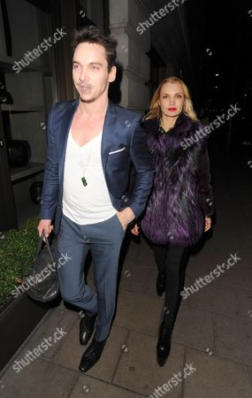 Editorial image of Jonathan Rhys Meyers and Marinika Smirnova out and about in London, Britain - 04 Feb 2014