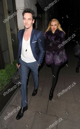 Editorial picture of Jonathan Rhys Meyers and Marinika Smirnova out and about in London, Britain - 04 Feb 2014