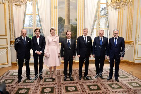 Stock Photo of King Philippe, Queen Mathilde and French President Francois Hollande, Elio Di Rupo, Prime Minsister of Belgium, Didier Reynders, Laurent Fabius, Jean Marc Ayrolt