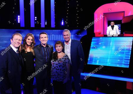 (l-r) Impressionist John Culshaw.Sky Sports presenter Charlotte Host Bradley Walsh Jackson Shameless star Tina Malone and Daybreak's Dr Hilary Jones and Chaser  Paul Sinha; The Sinnerman