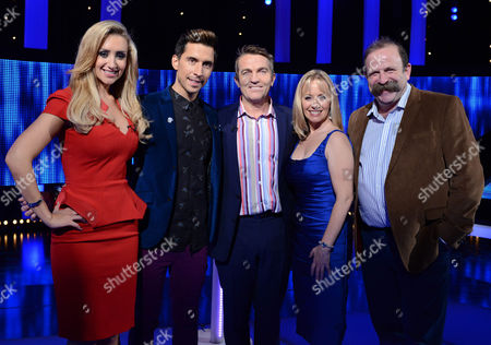 (l-r) Catherine Tyldesley, Russell Kane host Bradley Walsh Karen Barber and Dick Strawbridge