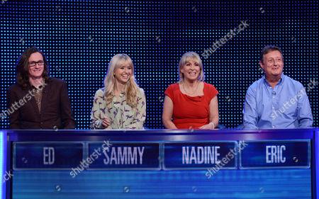 (l-r) Ed Byrne, Nadine Dorries  Sammy Winward and Eric Bristow