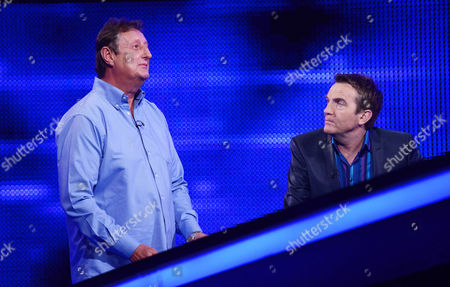 (l-r) Eric Bristow faces The Chaser  with host Bradley Walsh