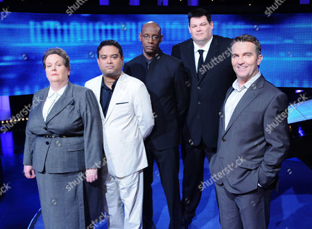 L-R: The Governess, Anne Hegerty; The Sinnerman, Paul Sinha; The Barrister, Shaun Wallace; The Beast, Mark Labbett and Bradley Walsh