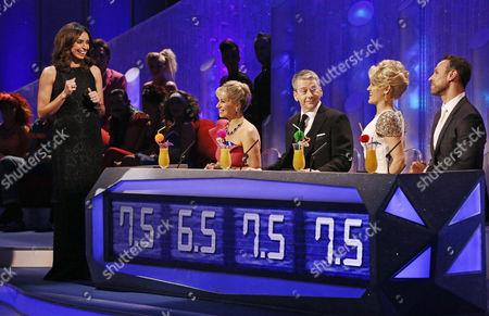 Christine Bleakley and judges Karen Barber, Nicky Slater, Ashley Roberts and Jason Gardiner