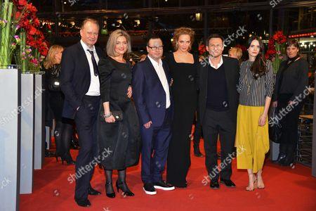 Stellan Skarsgard, Lars Von Trier, Bente Froge, Uma Thurman, Christian Slater and Stacy Martin
