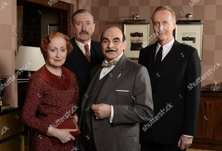 Pauline Moran as Miss Lemon, Philip Jackson as James Japp, David Suchet as Hercule Poirot and Hugh Fraser as Captain Hastings.