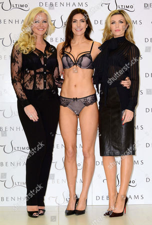 Stock Image of Michelle Mone, model Louisa Cole and Abigail Clancy