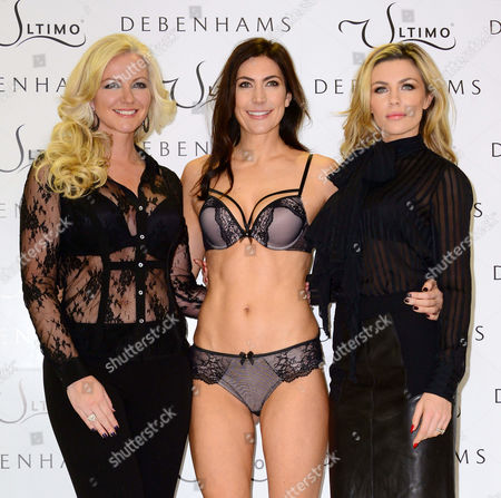 Stock Picture of Michelle Mone, model Louisa Cole and Abigail Clancy