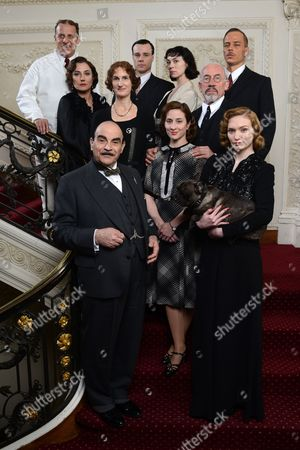 Back to Front: Nigel Lindsay as Francesco, Rupert Evans as Harold Waring, Orla Brady as Countess Rossakoff, Sandy Mcdade as Mrs Rice, Fiona O'Shaugnessy as Katrina, Tom Wlaschiha as Schwartz, Simon Callow as Dr Lutz, David Suchet as Hercule Poirot, Morven Christie as Elsie Clayton and Eleanor Tomlinson as Alice Cunningham.