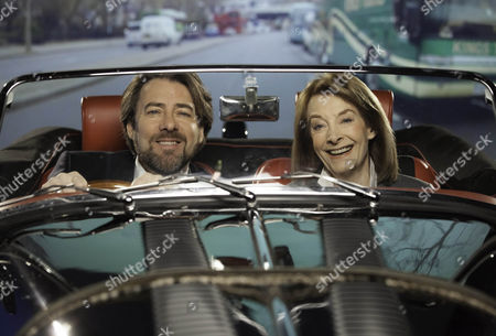 """Jonathan Ross joins Jean Marsh who starred in Hitchcock's film Frenzy for a """"green screen drive"""" through the streets of London"""