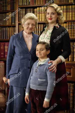 Stock Picture of Julia McKenzie as Miss Marple, Bobby Smalldridge as Archie Oxley and Kimberley Nixon as Louisa Oxley.
