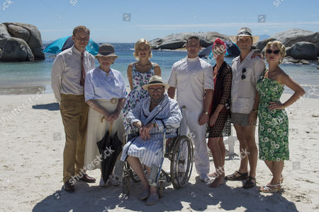 Stock Photo of Pictured L-R: Robert Webb as Tim Kendall, Julia McKenzie as Miss Marple, Charity Wakefield as Molly, Warren Brown as Jackson, Hermione Norris as Evelyn Hillingdon, Alastair MacKenzie as Colonel Hillingdon MyAnna Buring as Lucky Dyson and Sir Antony Sher as Rafiel.