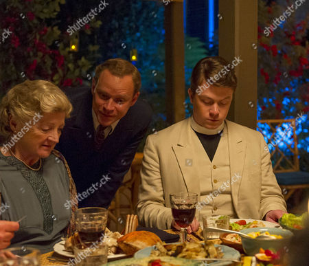 Julia McKenzie as Miss Marple, Robert Webb as Tim Kendall and Daniel Rigby as Canon Prescott.