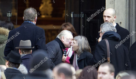 David Jason being greeted by Jehane Markham at the church