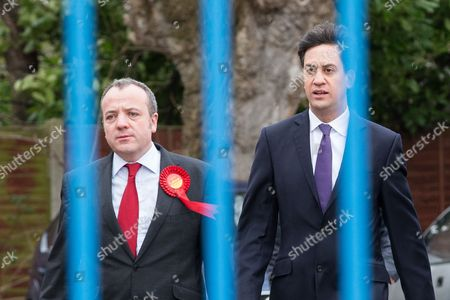 Ed Miliband and victorious Labour candidate Mike Kane