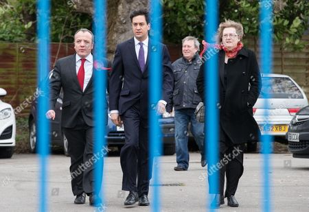 Ed Miliband and victorious Labour candidate Mike Kane with wife Sandra Bracegirdle