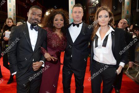 Stock Picture of Daniel Oyelowo, Oprah Winfrey, Brad Pitt and Angelina Jolie