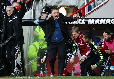 Nottingham Forest manager Billy Davies celebrates his teams opening goal of the game
