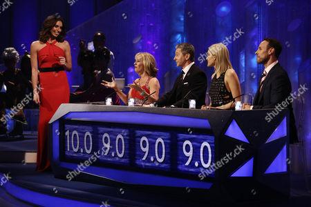 Stock Image of Christine Bleakley and judges Karen Barber, Nicky Slater, Ashley Roberts and Jason Gardiner