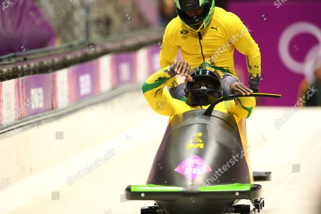 Marvin Dixon and Winston Watts of Jamaica competing in the two man Bobsleigh, heat 3