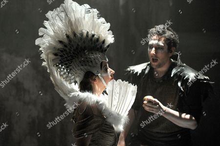 Stock Photo of 'King Priam' - Niamh Kelly as Helen and Nicholas Sharratt as Paris