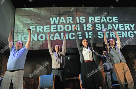 '1984' performed by Headlong - Gavin Spokes as Parsons, Christopher Patrick Nolan as Martin, Hara Yannas as Julia and Mark Arends as Winston