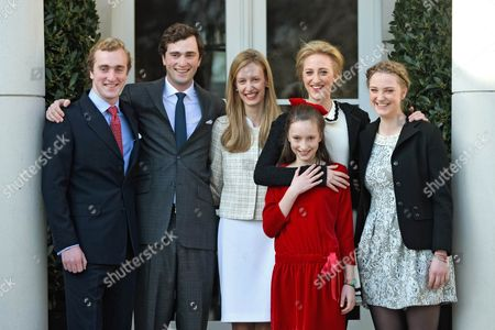 Prince Amedeo of Belgium and Elisabetta Maria Rosboch von Wolkenstein with Prince Joachim and sisters Princess Laetitia Maria, Princess Maria Laura and Princess Luisa Maria