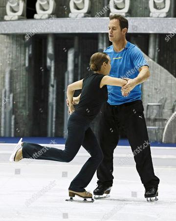 Kyran Bracken and Nina Ulanova with coach Rob Burger