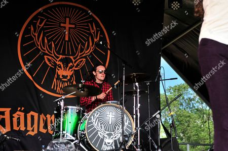 Castle Donington United Kingdom - June 15: Drummer Gareth Hunt Of Welsh Rock Group Buffalo Summer Performing Live On The Jagermeister Acoustic Stage At Download Festival On June 15