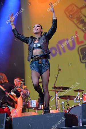 Castle Donington United Kingdom - June 14: Vocalist And Dancer Elizabeth Sun Of Gypsy Punk Group Gogol Bordello Performing Live On The Zippo Encore Stage At Download Festival On June 14