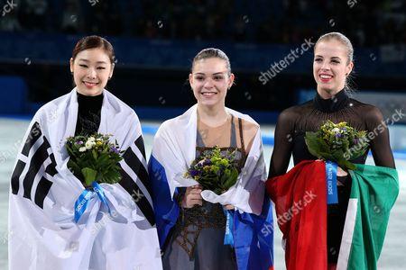 Figure Skating :  Women's Free Skating -  (L to R)  Yu-Na Kim (KOR) silver, Adelina Sotnikova (RUS) gold, Carolina Kostner (ITA) bronze