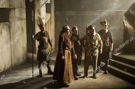 Stock Image of 'King Priam' - Johnny Herford (Hunter 2), Roderick Earle (Priam), Stuart Haycock (Hunter 1), Adrian Dwyer (Hermes), Henry Manning (Hunter 3)