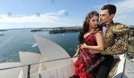 Stock Image of Thomas Lacey and Phoebe Panaretos on the sails of the Sydney Opera House.