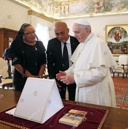 President of Haiti Michel Martelly, Sophia Martelly and Pope Francis I