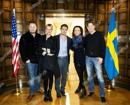 """Editorial image of Press meeting at the US Embassy in Stockholm for new TV-series """"Welcome to Sweden"""", Stokholm, Sweden - 18 Feb 2014"""
