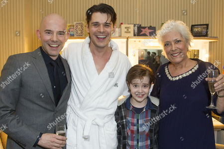 Stock Photo of Daniel Evans (Director), Kenny Doughty (Gaz), Jack Hollington (Nathan) and Lynda Bellingham