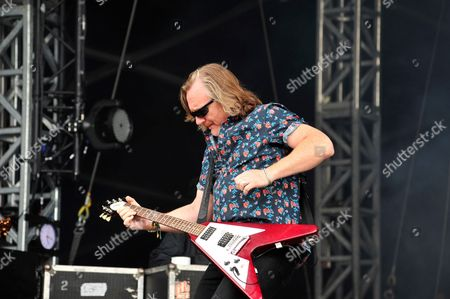 Castle Donington United Kingdom - June 15: Guitarist Luke Morley Of English Hard Rock Group Thunder Performing Live On The Zippo Encore Stage At Download Festival On June 15