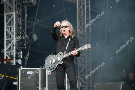 Castle Donington United Kingdom - June 15: Guitarist Ben Matthews Of English Hard Rock Group Thunder Performing Live On The Zippo Encore Stage At Download Festival On June 15